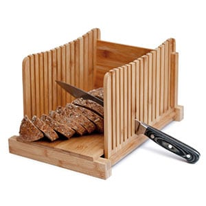homemade bread loaf slicer - bamboo wood cutter box with knife slicing guide & cutting board