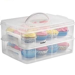 vonshef snap and stack cupcake storage carrier 2 tier